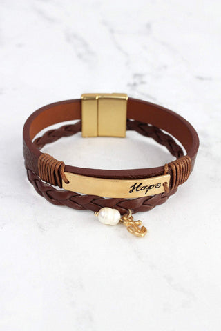 "Brown and Worn Goldtone ""Hope"" Multi-Strand Magnetic Bracelet"