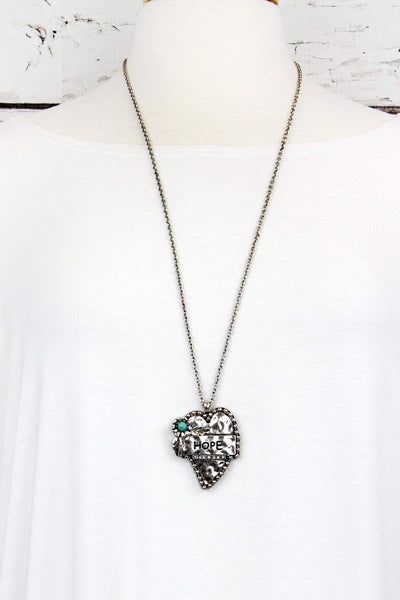 "Burnished Silvertone with Turquoise Bead Flower ""Hope"" Heart Necklace"