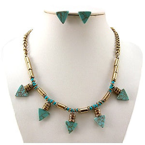 Triangle Stone Aztec Tribal Design Necklace And Earrings Set