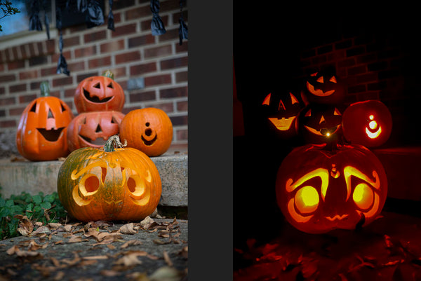 Carved pumpkins + lit