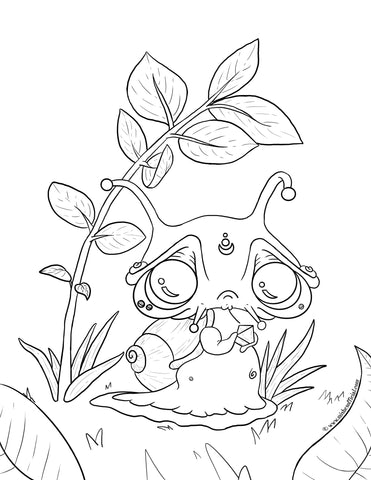 Snail Coloring Page © www.mishesofficial.com