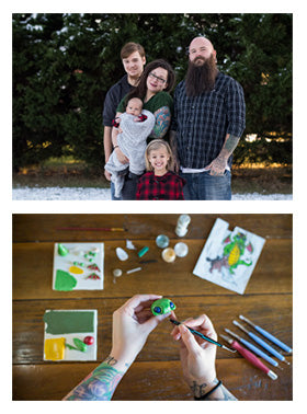 First picture: Hunter family of 5, from left to right Taylor, Baby Viktor, Jes, Lydia, Will in front of evergreen trees. Second picture: Jes sculpting a mish at her desk.