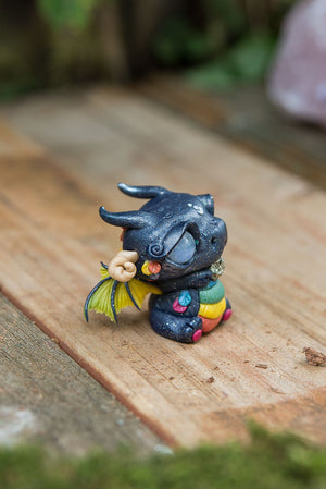 Rainbow Pride Dragon Mish (Reverse) with Moonstone Eyes & Pyrite