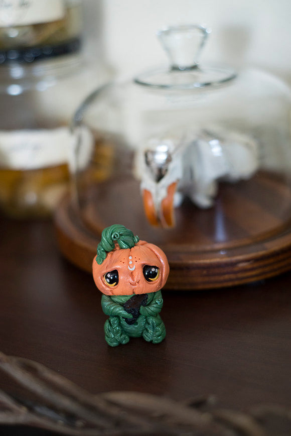 Jack the Pumpkinhead Mish - OOAK collectible handmade polymer clay art toy gift