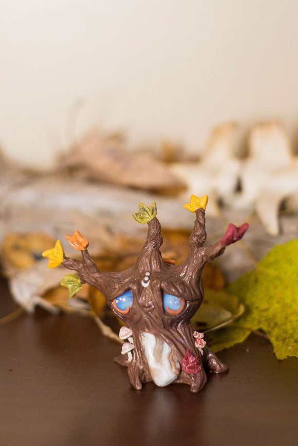 Front View Autumn the Fall Tree Mish - handmade polymer clay tree creature with fall leaves and crazy lace agate stone