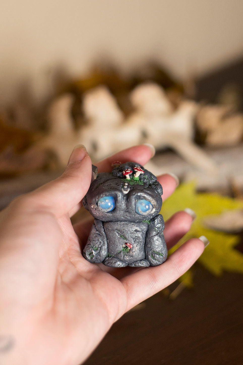 Theodore the Rock Mish - OOAK collectible handmade polymer clay art toy gift
