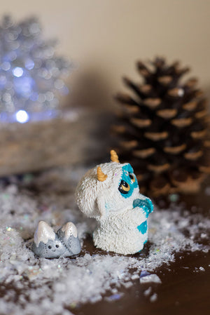 Glacier the Yeti Mish and pet Double Peak Mountain - OOAK collectible handmade polymer clay art toy gift