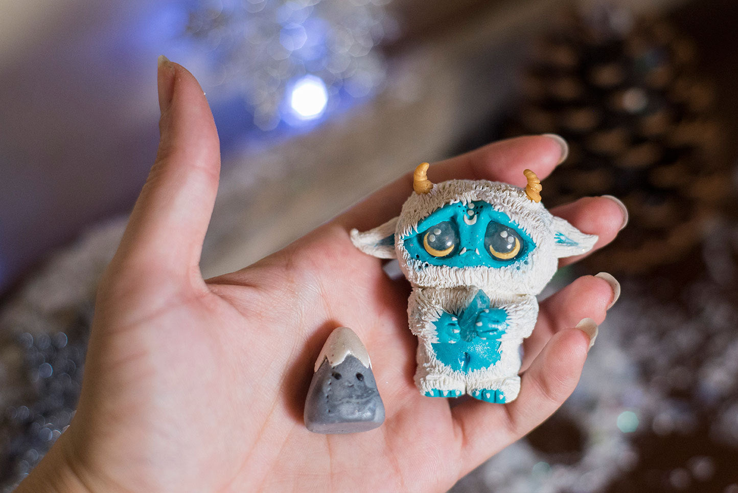 Frost the Yeti Mish and pet Mountain - OOAK collectible handmade polymer clay art toy gift