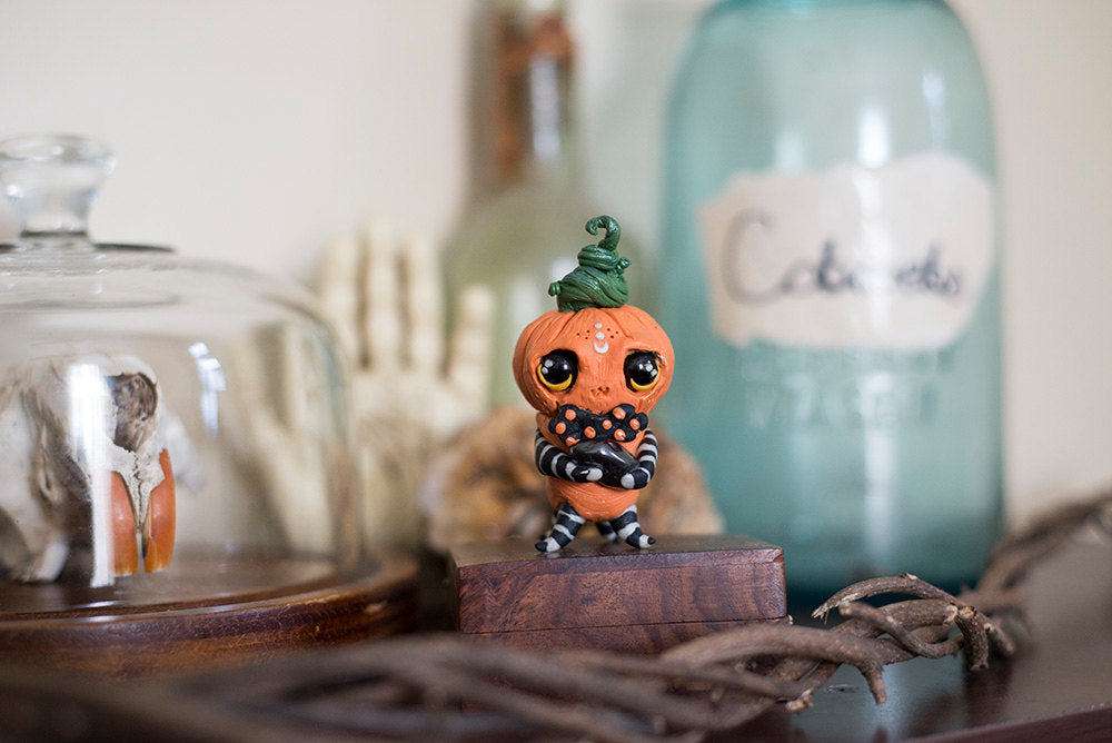 SALE! Otho the Pumpkinhead Mish - OOAK collectible handmade polymer clay art toy gift
