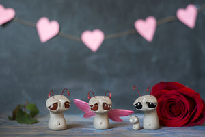 Red Eyed Love Sprocket -OOAK collectible handmade polymer clay art toy gift
