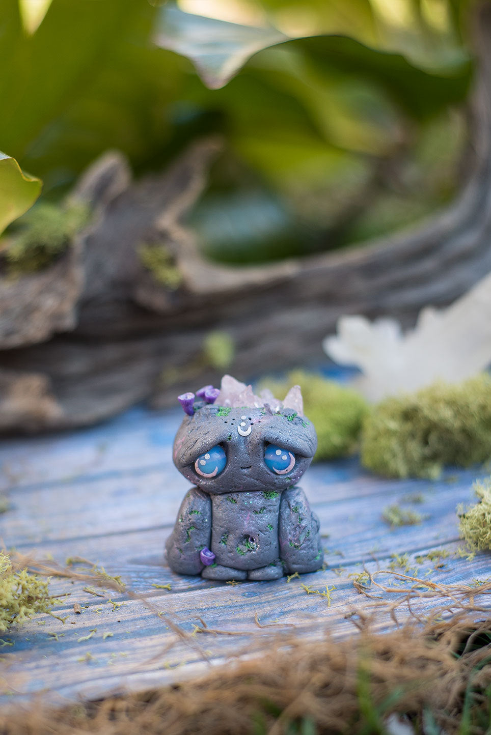 Harlow the Rock Golem Mish - OOAK collectible handmade polymer clay art toy gift