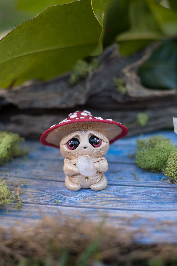 Mishroom Jr the mushroom Mish - OOAK collectible handmade polymer clay art toy gift