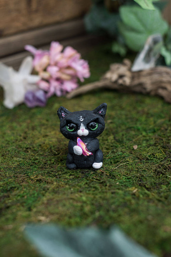SALE!!! Black & White Angry Cat Mish - OOAK collectible handmade polymer clay art toy gift