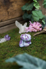 Marble w/ Wisteria Rock Golem Mish - OOAK collectible handmade polymer clay art toy gift