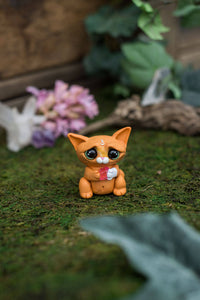 Orange & White Cat Mish - OOAK collectible handmade polymer clay art toy gift