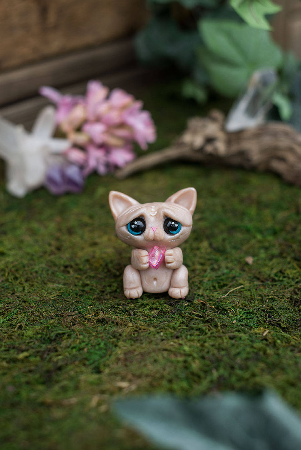 SALE!!! Hairless Cat Mish - OOAK collectible handmade polymer clay art toy gift