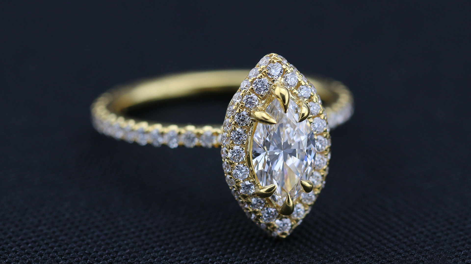 18K Yellow Gold Marquise Diamond Halo Engagement Ring
