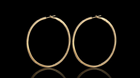 14K Yellow Gold Big Hoop Diamond Earrings