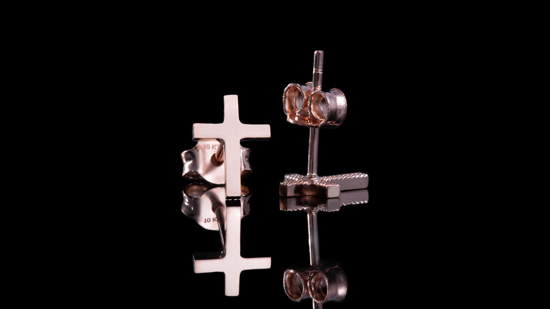 10K Rose Gold Plain Cross Stud Earrings