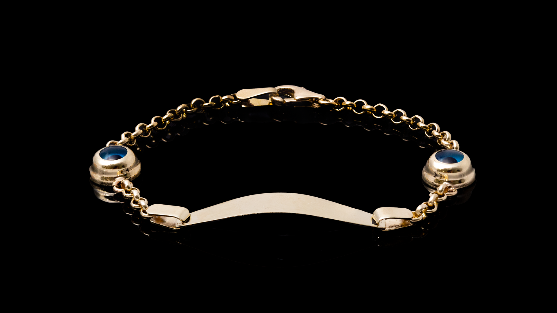 10K Yellow Gold Eye Link ID Bracelet