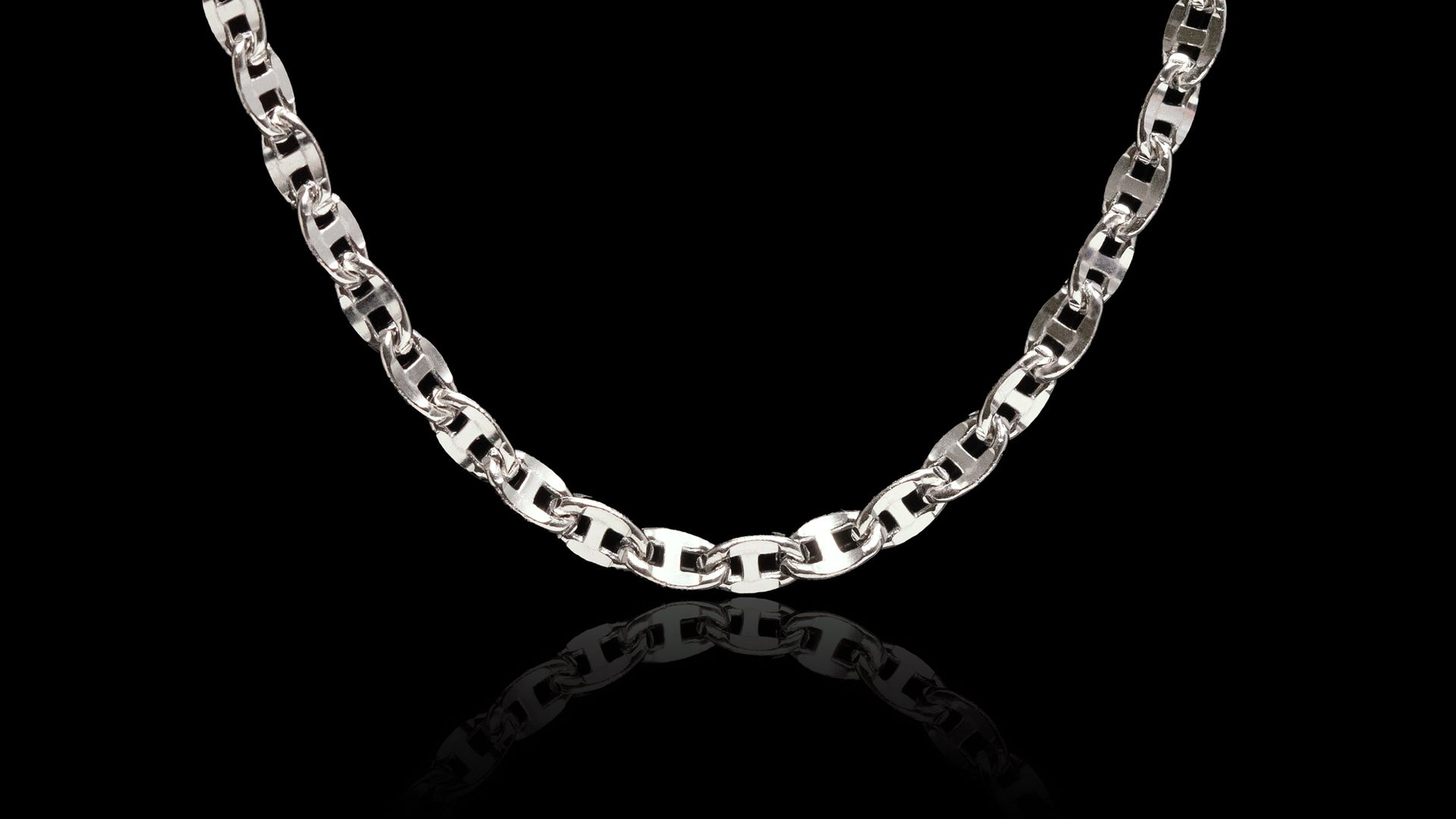 10K White Gold Ballerina Link Chain