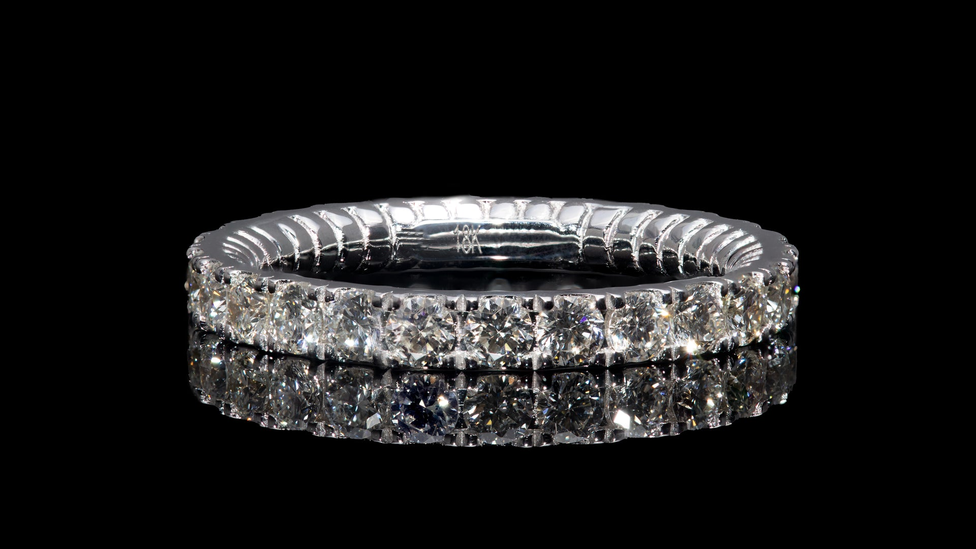 18K White Gold Tor-Nado Eternity Diamond Band Ring