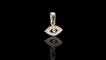 10K Yellow Gold CZ Eye Mini Charm Pendant