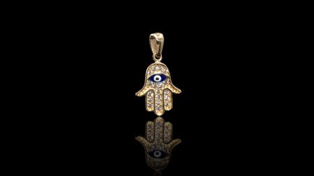 10K Yellow Gold CZ Eye In Hamza Hand Mini Charm Pendant