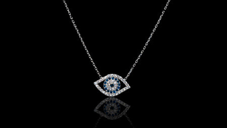 10K White Gold CZ Eye Necklace