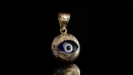 10K Yellow Gold Eye Mini Charm Pendant