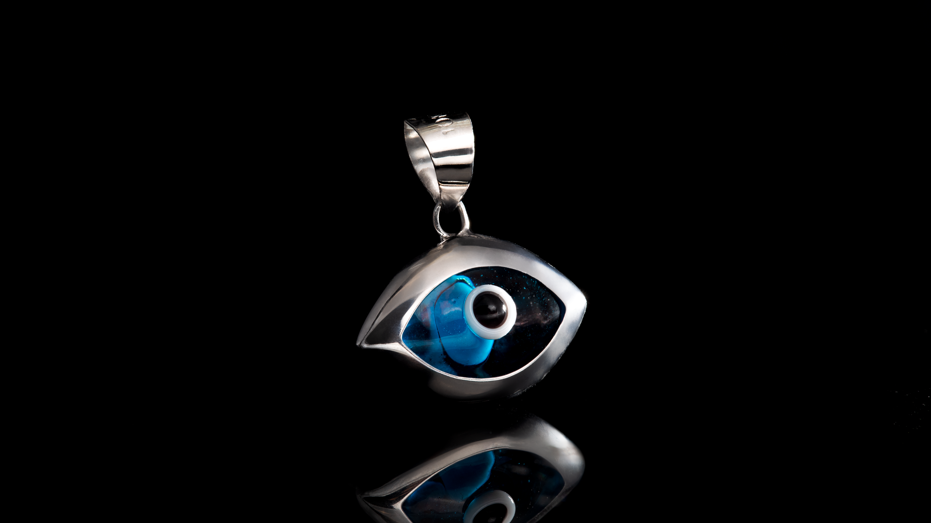 10K White Gold Eye Shaped Mini Charm Pendant