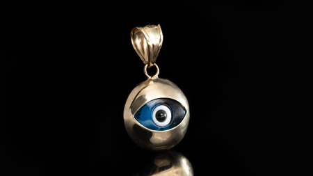 10K Yellow Gold Bubble Eye Mini Charm Pendant