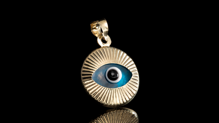 10K Yellow Gold Round Eye Mini Charm Pendant