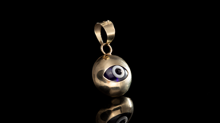 10K Yellow Gold Bubble Dark Eye Mini Charm Pendant