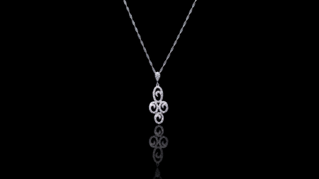 [SPECIAL] 10k/14k White Gold Circle Cross Diamond Necklace