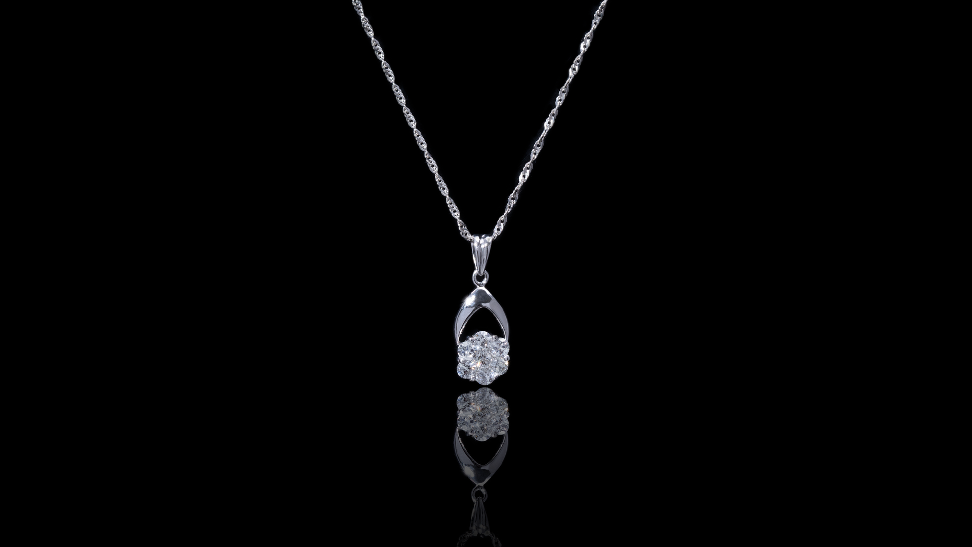[SPECIAL] 10k/14k White Gold Honeycomb Diamond Necklace