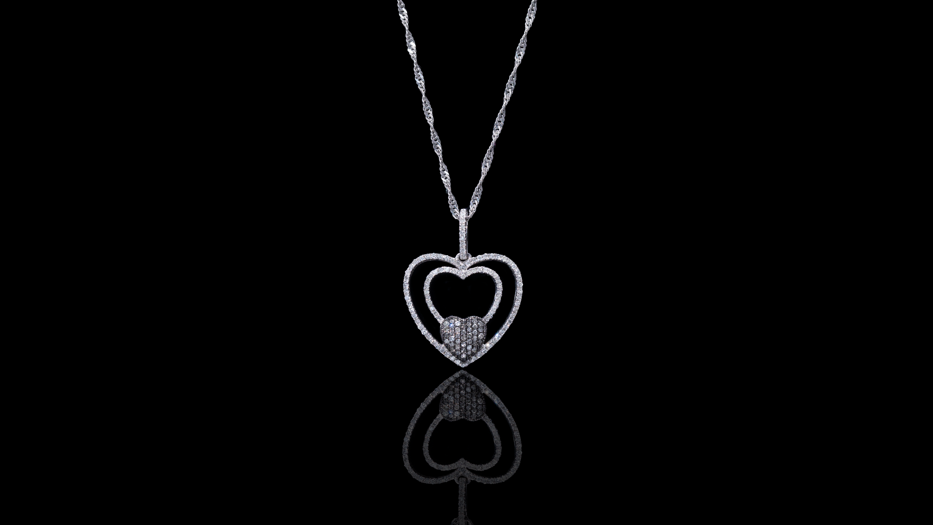 [SPECIAL] 10k White Gold Layered Heart Diamond Necklace