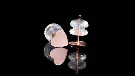 10K Rose Gold Heart Stud Earrings