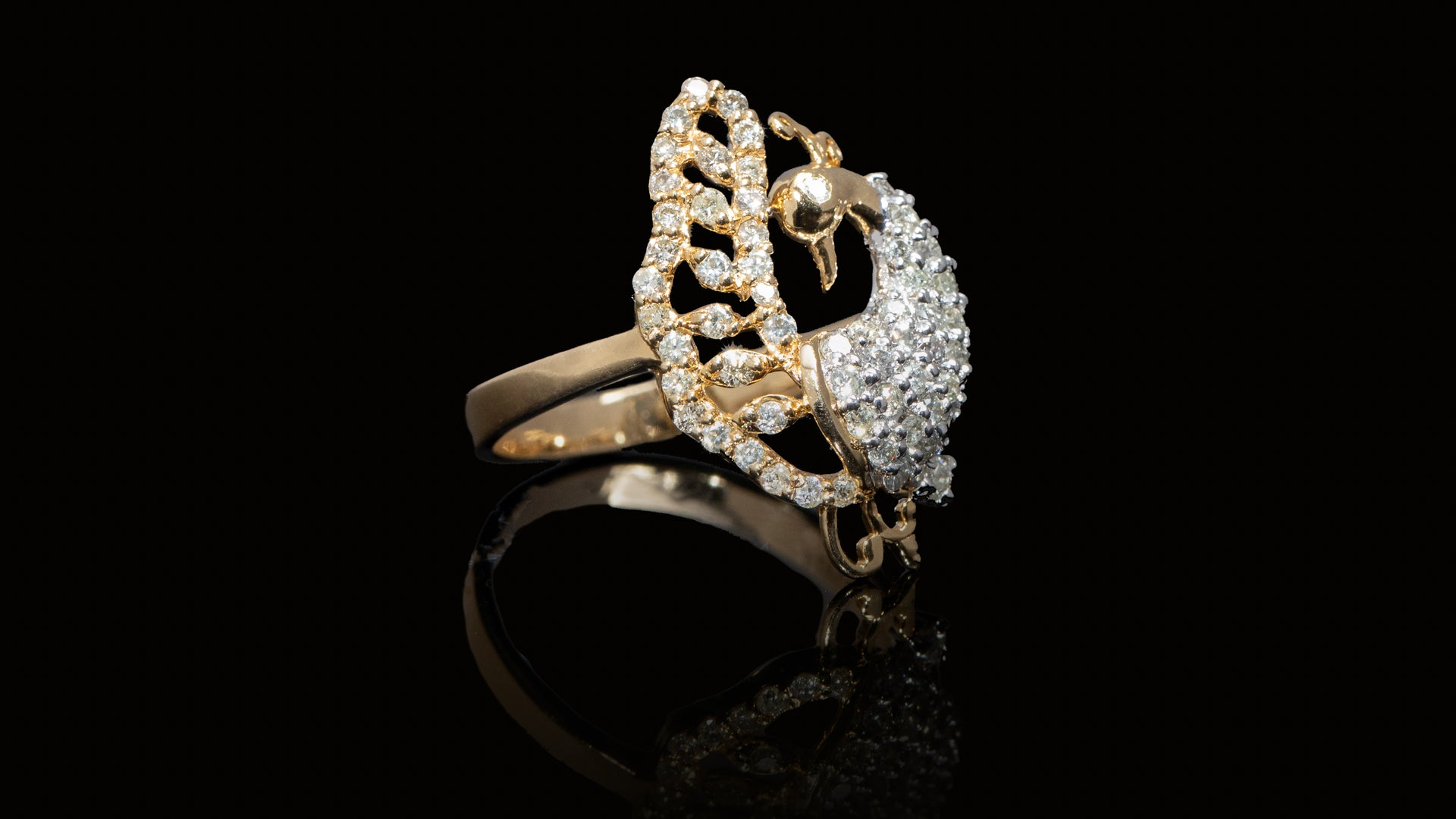 [SPECIAL] 14K Yellow Gold Peacock Diamond Ring