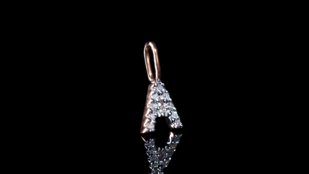10K Rose Gold Letter Mini Diamond Charm Pendant