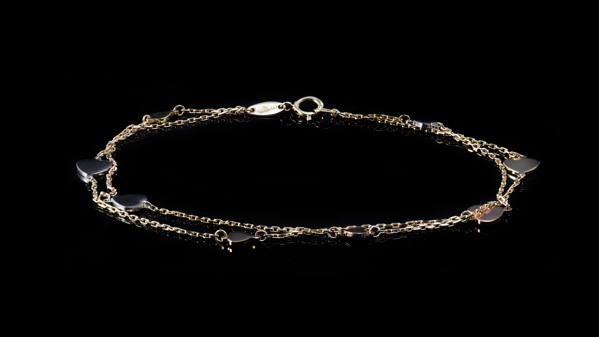 10k Tri-Color Gold Hearts Link Bracelet