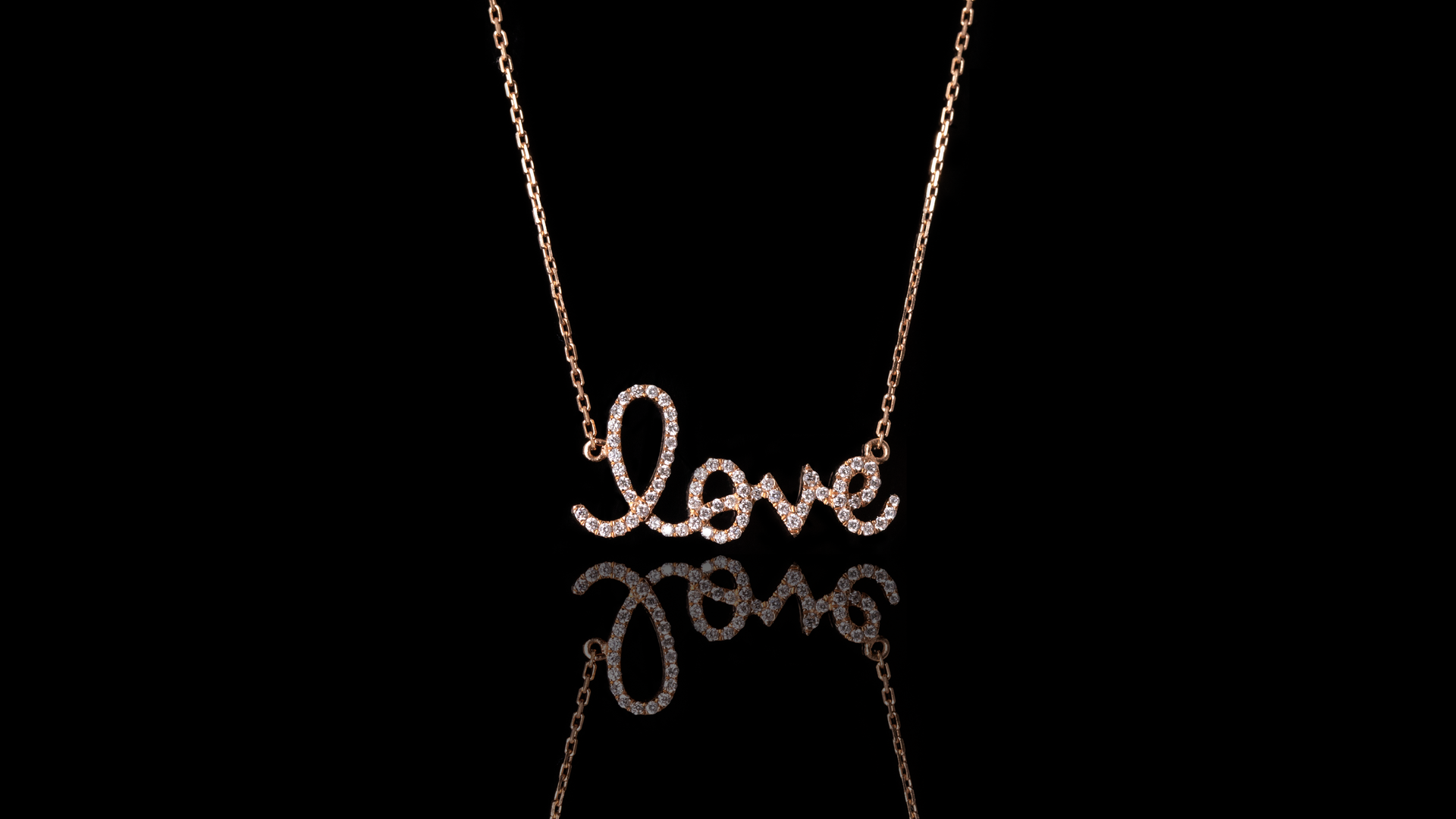 18k Rose Gold Love Written Diamond Necklace
