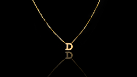 14K Yellow Gold 'D' Letter Necklace