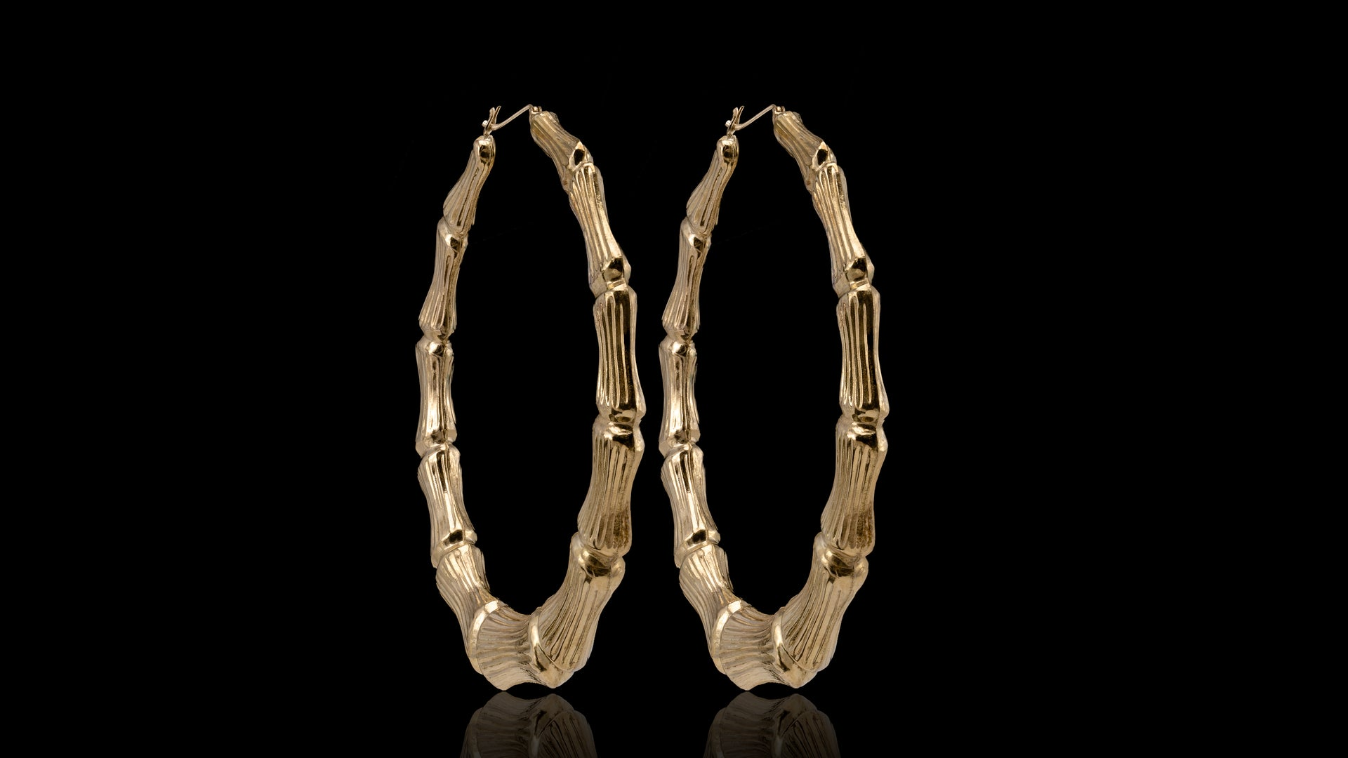 10K Yellow Gold Big Bamboo Hoop Earrings