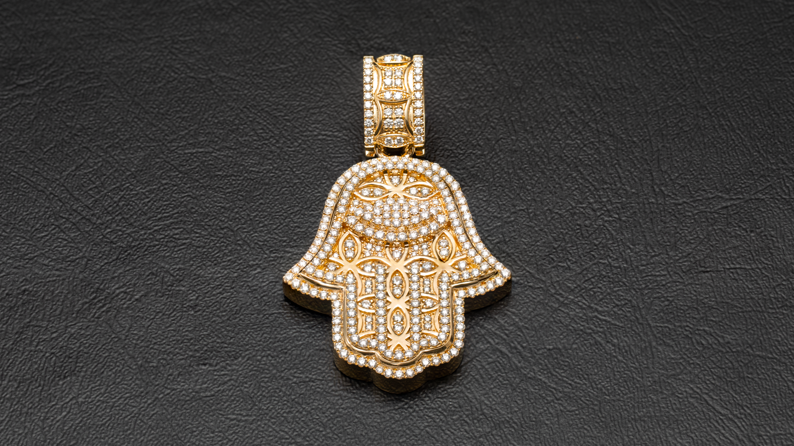 14k Yellow Gold Hamsa Hand & Evil Eye Diamond Pendant