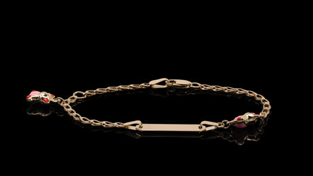 10K Yellow Gold Red & Pink Teddy Bear ID Bracelet