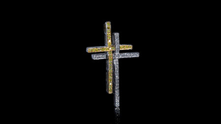 10K Yellow & White Gold Double Cross Diamond Pendant