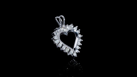 14K White Gold Heart Contour Diamond Pendant