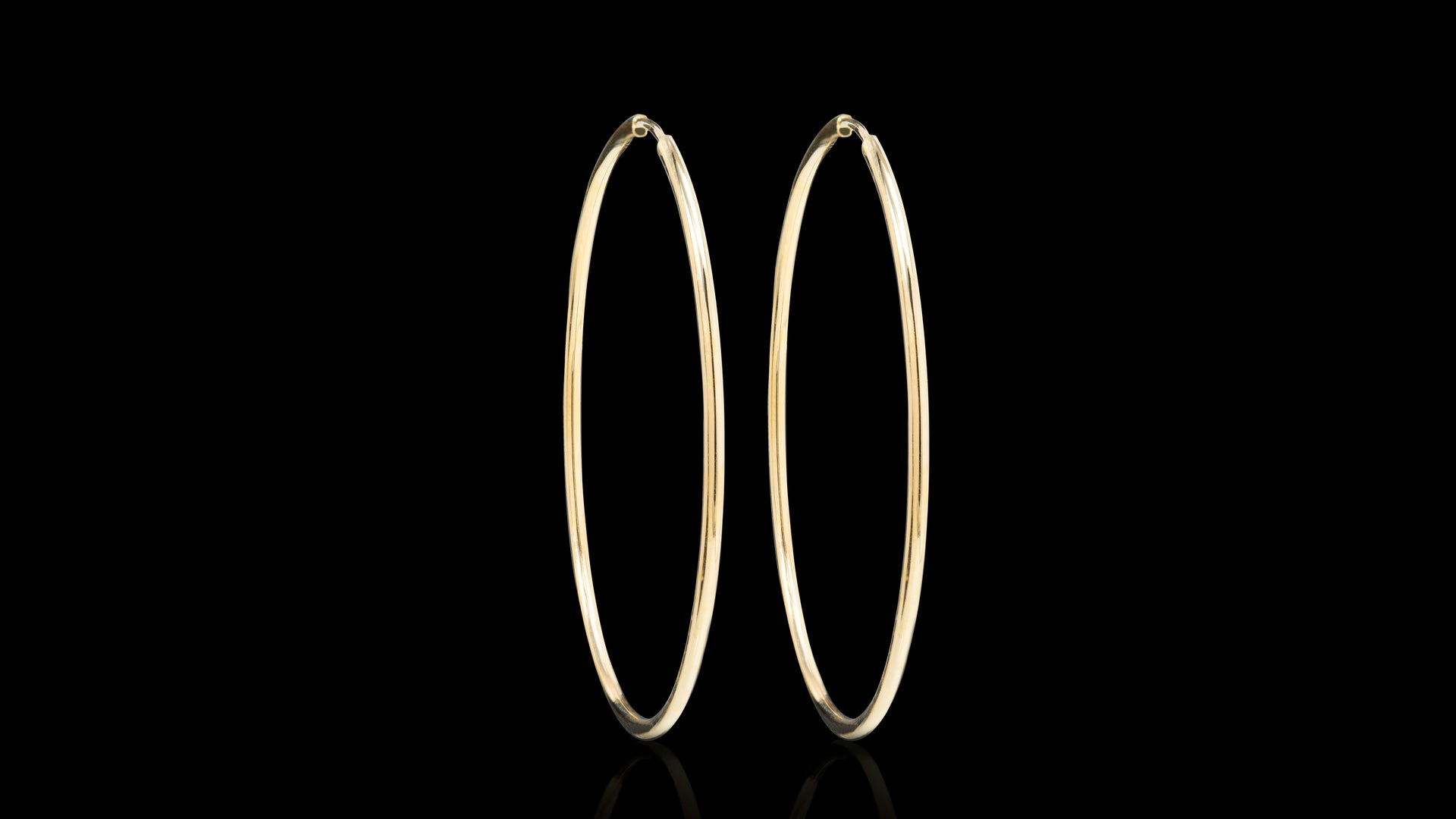 10K Yellow Gold Sleeper Hoop Earrings