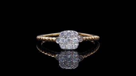 14K Yellow Gold Cushion Cluster Promise Diamond Ring